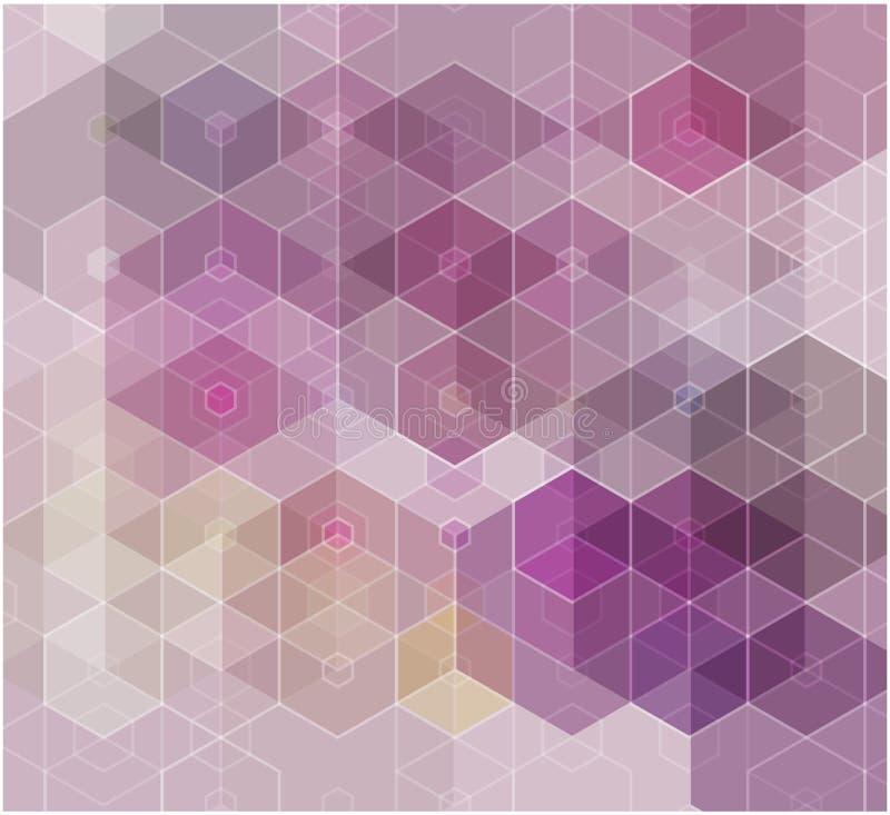 Wektorowy Abstrakcjonistycznej nauki tło purpurowego sześciokąta geometryczny projekt 10 eps royalty ilustracja