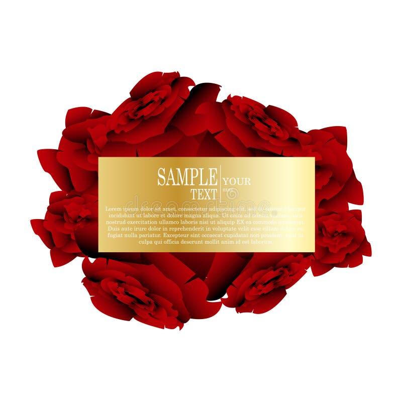 Wektorowy abstrakcjonistyczny akwareli czerwieni róży projekta element odizolowywający ilustracja wektor