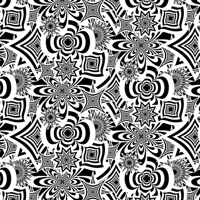 Wektorowy abstrakcjonistyczny bezszwowy czarny i biały kwiecisty etniczny wzór Wielostrzałowy nowożytny tło ilustracja wektor