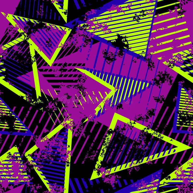 Wektorowy Abstrakcjonistyczny Bezszwowy Geometryczny wz?r Nowożytna miastowa sztuki grunge tekstura royalty ilustracja