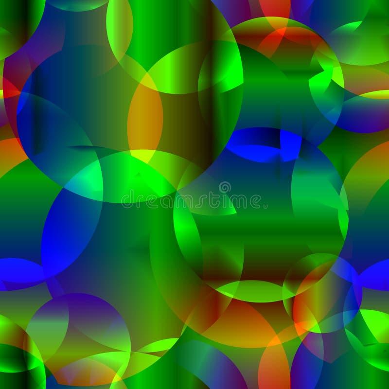 Wektorowy abstrakcjonistyczny bezszwowy tło od astronautycznego neonowego jaskrawego circl royalty ilustracja