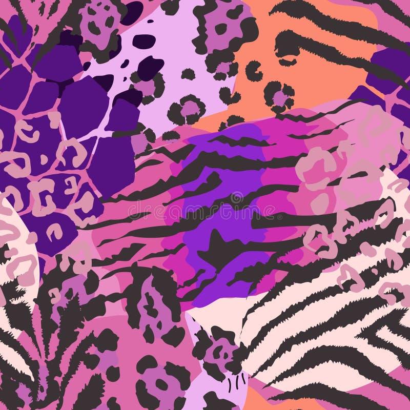 Wektorowy abstrakcjonistyczny bezszwowy wzór z zwierzęcej skóry motywami royalty ilustracja