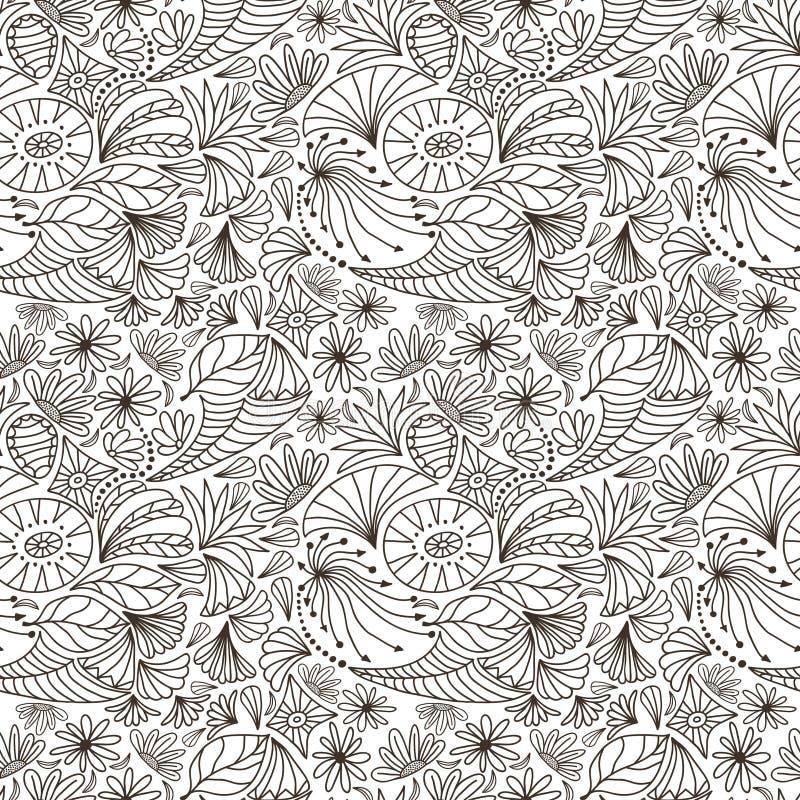 Wektorowy abstrakcjonistyczny bezszwowy wzór kontur natury ornamenty kolorystyki książkowa ilustracja royalty ilustracja