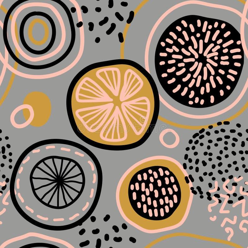 Wektorowy abstrakcjonistyczny bezszwowy wzór z cytrynami, okręgi, kropki ilustracji