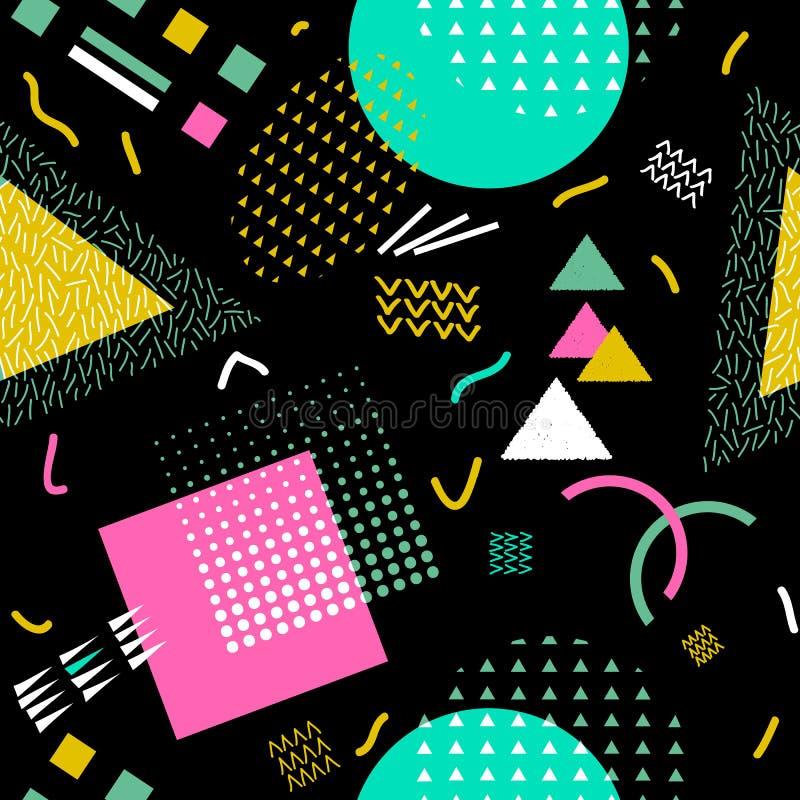 Wektorowy abstrakcjonistyczny bezszwowy wzór z geometrycznymi kształtami Retro Memphis styl royalty ilustracja