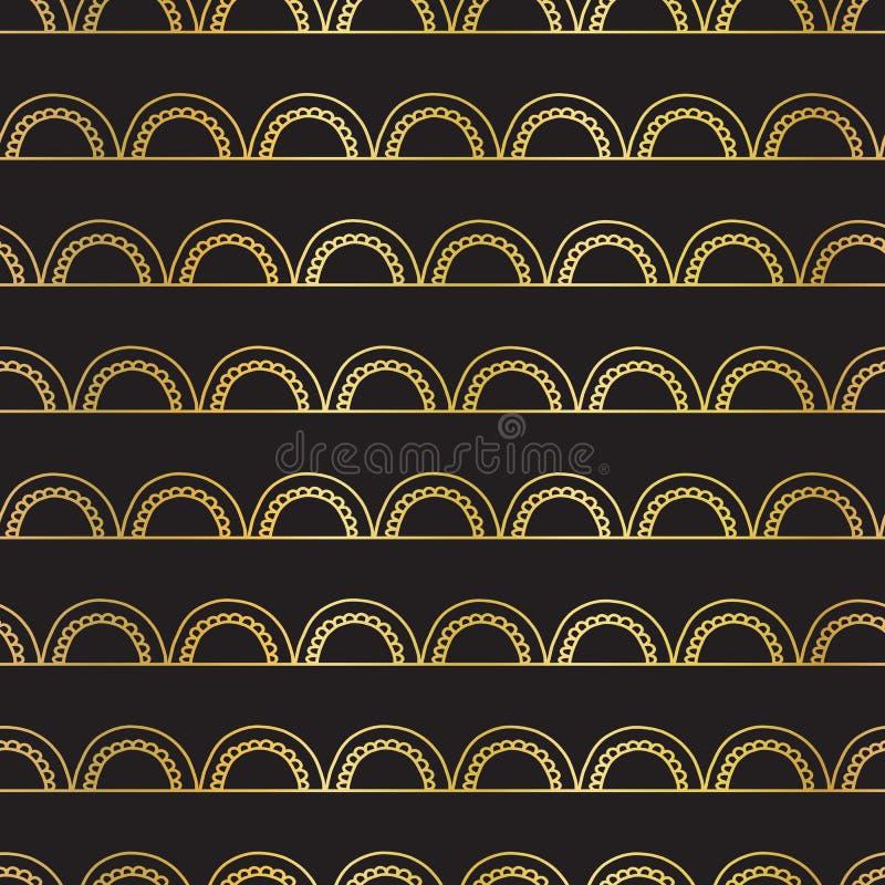 Wektorowy abstrakcjonistyczny bezszwowy złocistej folii doodle geometryczny tło Złoci łuki na liniach na czerni Elegancki, art de royalty ilustracja
