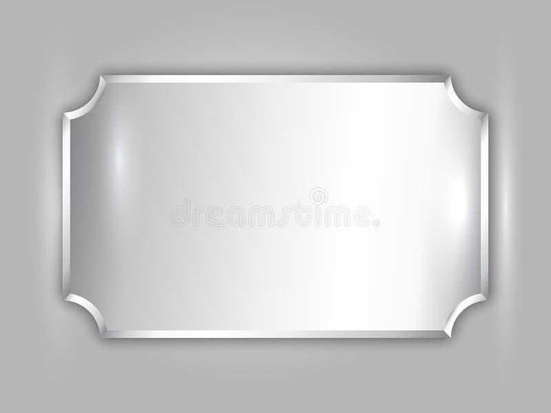 Wektorowy abstrakcjonistyczny cennego metalu srebra nagrody talerz ilustracja wektor