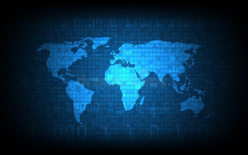 Wektorowy abstrakcjonistyczny cyfrowy kuli ziemskiej światowej mapy tło royalty ilustracja