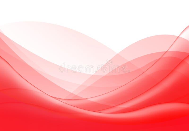 Wektorowy abstrakcjonistyczny czerwony falisty fala tło, tapeta Broszurka, projekt Na białym tle ilustracji