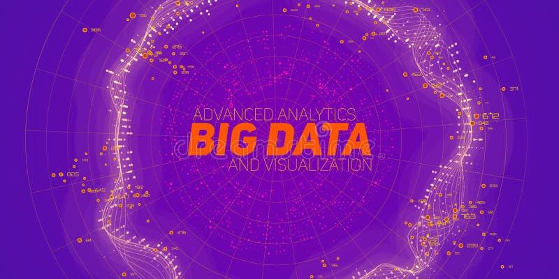 Wektorowy abstrakcjonistyczny duży dane unaocznienie Błękita przepływ jak liczba sznurki dane Ewidencyjny kodu przedstawicielstwo ilustracja wektor