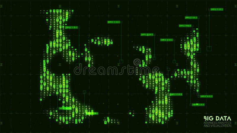 Wektorowy abstrakcjonistyczny duży dane unaocznienie Błękita przepływ jak liczba sznurki dane Ewidencyjny kodu przedstawicielstwo royalty ilustracja