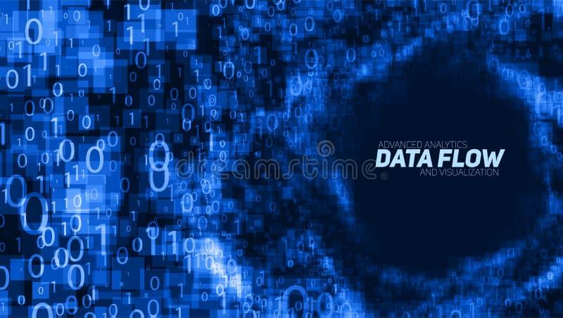 Wektorowy abstrakcjonistyczny duży dane unaocznienie Błękitny rozjarzony dane przepływ jak binarne liczby Komputerowego kodu prze ilustracji