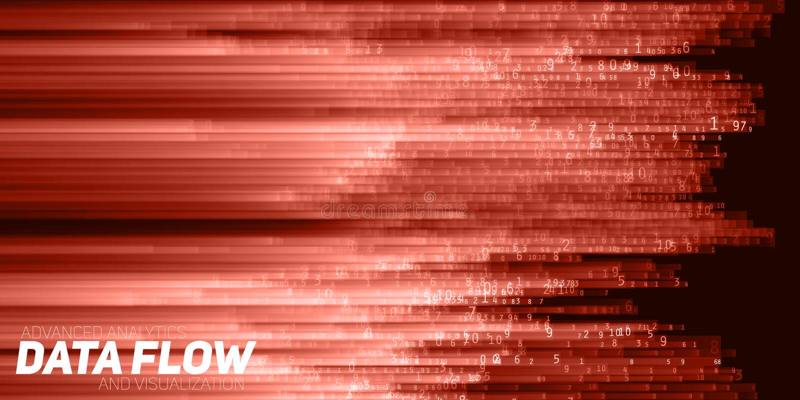 Wektorowy abstrakcjonistyczny duży dane unaocznienie Rewolucjonistka przepływ jak liczba sznurki dane Ewidencyjny kodu przedstawi ilustracja wektor