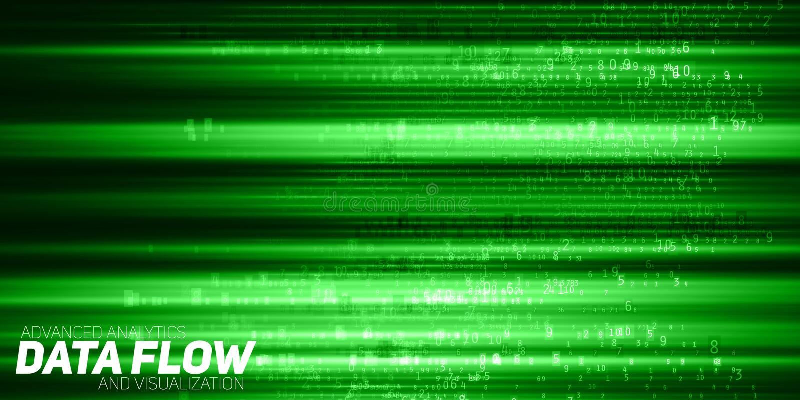 Wektorowy abstrakcjonistyczny duży dane unaocznienie Zielony przepływ jak liczba sznurki dane Ewidencyjny kodu przedstawicielstwo ilustracja wektor