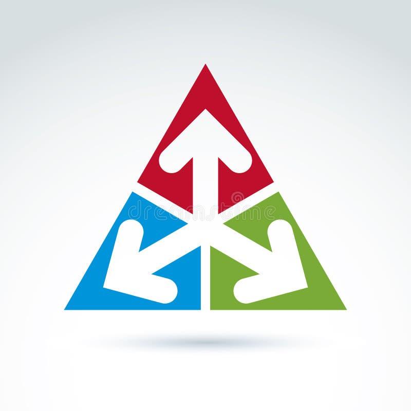 Wektorowy abstrakcjonistyczny emblemat z trzy wielokierunkowymi strzała royalty ilustracja