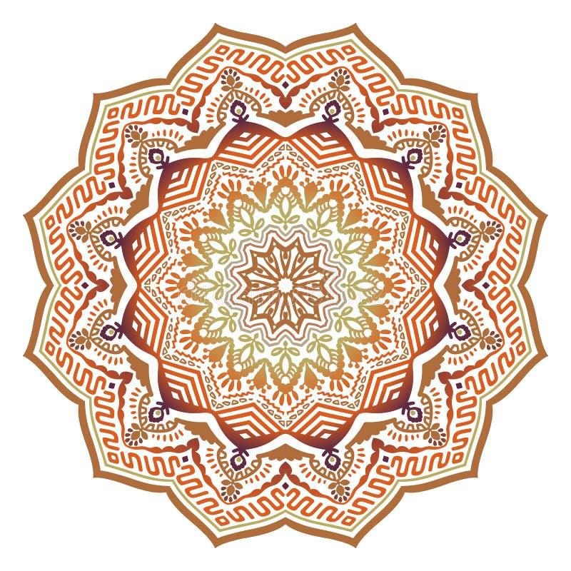 Wektorowy abstrakcjonistyczny etniczny pogodny mandala z pomarańczowymi kolorami ilustracja wektor