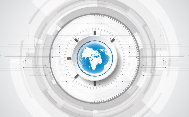 Wektorowy Abstrakcjonistyczny futurystyczny obwód deski globalny system, Ilustracyjnej wysokiej technologii cyfrowej koloru błęki royalty ilustracja