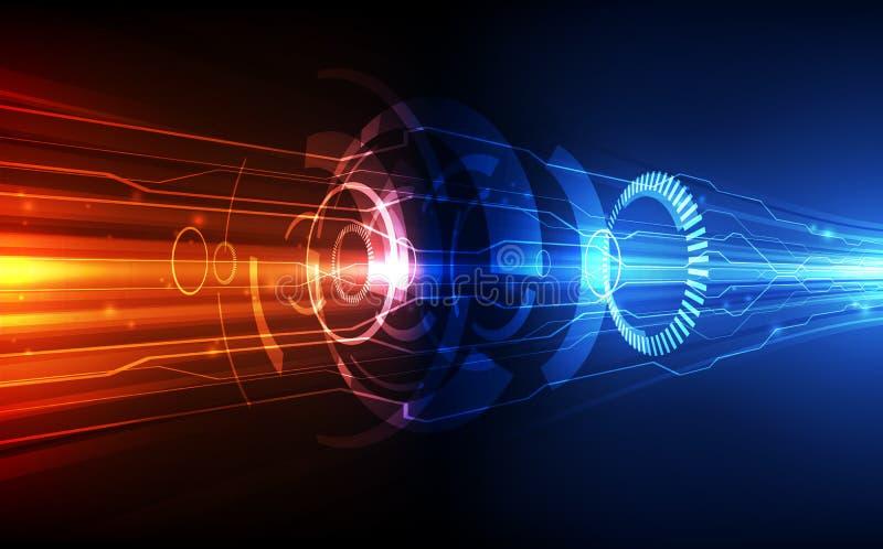 Wektorowy Abstrakcjonistyczny futurystyczny obwód deski system, Ilustracyjnej wysokiej prędkości technologii cyfrowej koloru błęk royalty ilustracja