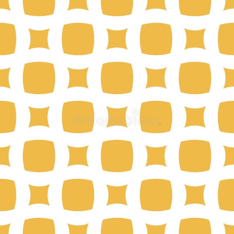 Wektorowy abstrakcjonistyczny geometryczny bezszwowy wzór z dużym kolorem żółtym zaokrąglającym obciosuje ilustracja wektor