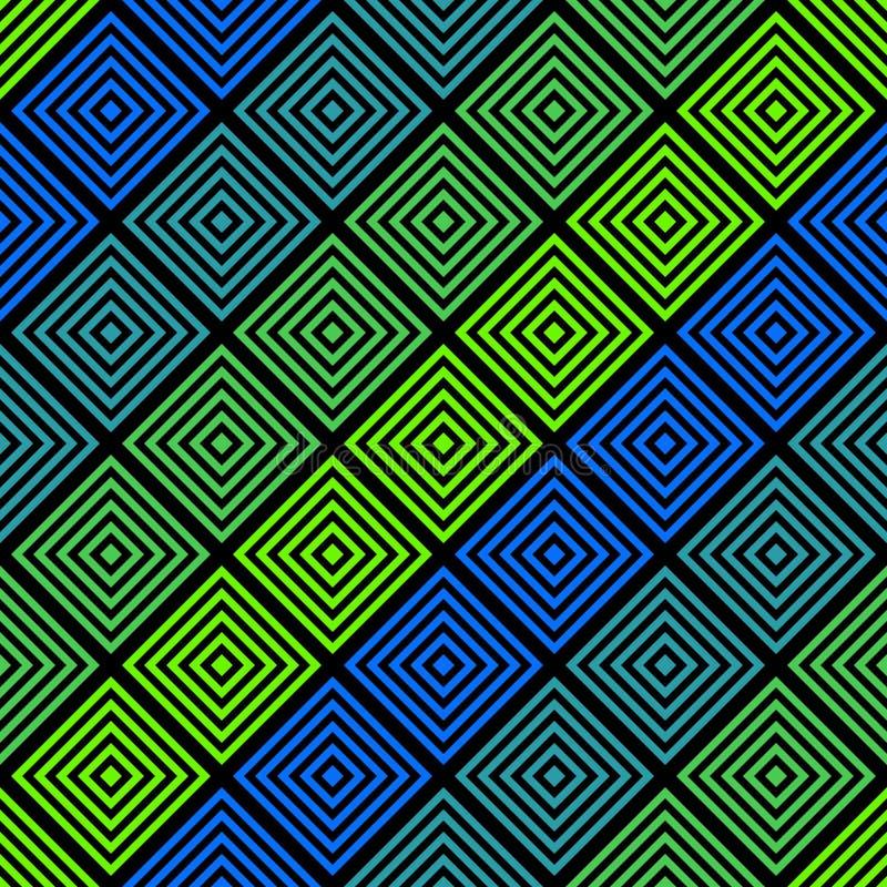 Wektorowy abstrakcjonistyczny geometryczny bezszwowy wzór z kolorowymi kwadratami, rhombuses ilustracja wektor