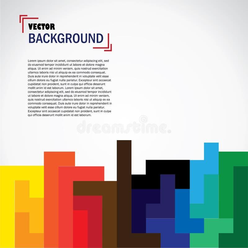 Wektorowy abstrakcjonistyczny geometryczny tło projekt z kolorowymi blokami ilustracja wektor
