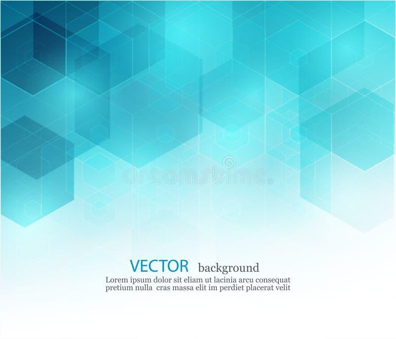 Wektorowy Abstrakcjonistyczny geometryczny tło Szablon broszurki projekt Błękitny sześciokąta kształt EPS10 royalty ilustracja
