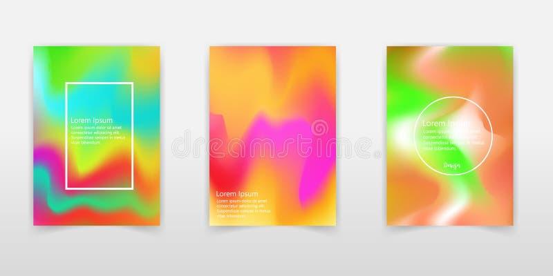 Wektorowy abstrakcjonistyczny holograficzny tło 80s - 90s, modna kolorowa tekstura w pastelowym, neonowym koloru projekcie/ Dla t ilustracja wektor