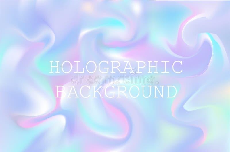 Wektorowy abstrakcjonistyczny holograficzny tło 80s - 90s, modna kolorowa tekstura w pastelu, neonowy koloru projekt royalty ilustracja