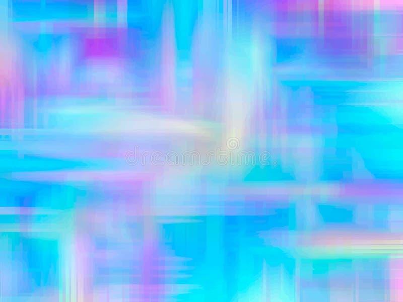 Wektorowy abstrakcjonistyczny holograficzny tło 80s - 90s, modna kolorowa tekstura w pastelu, neonowy koloru projekt szablonu pro ilustracja wektor