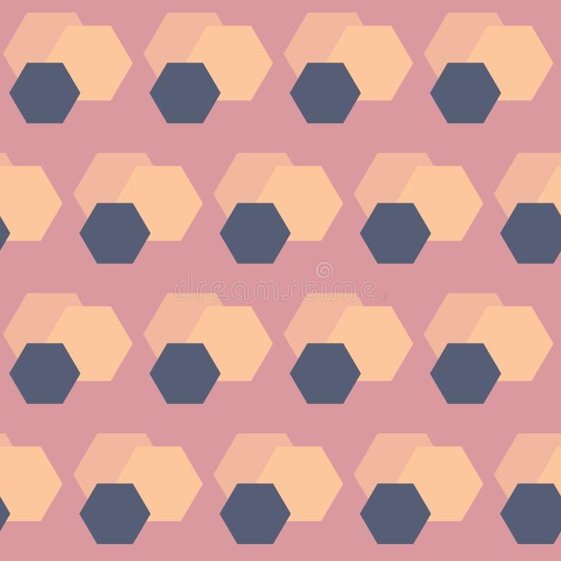 Wektorowy Abstrakcjonistyczny HoneyComb Kształtuje w Retro kolorów bezszwowym deseniowym tle royalty ilustracja