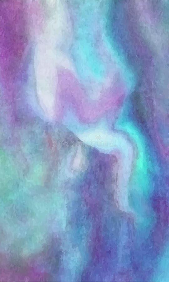 Wektorowy abstrakcjonistyczny jaskrawy błękit, turkus, purpury, lily akwareli tło dla projektów kartka z pozdrowieniami i zaprosz ilustracja wektor