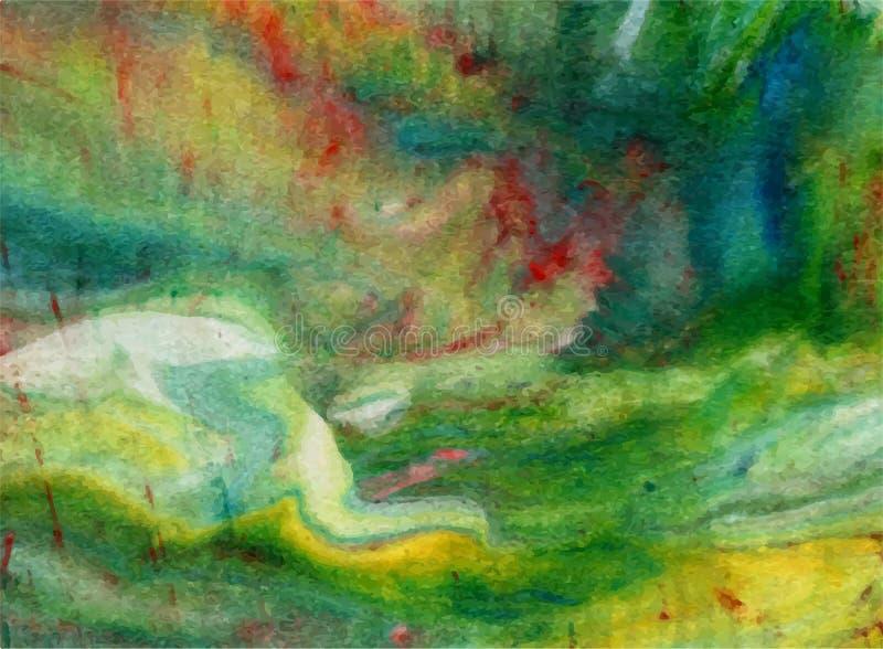 Wektorowy abstrakcjonistyczny jaskrawy - zieleń, błękit, żółty akwareli tło dla twój projektów kartka z pozdrowieniami i zaprosze royalty ilustracja