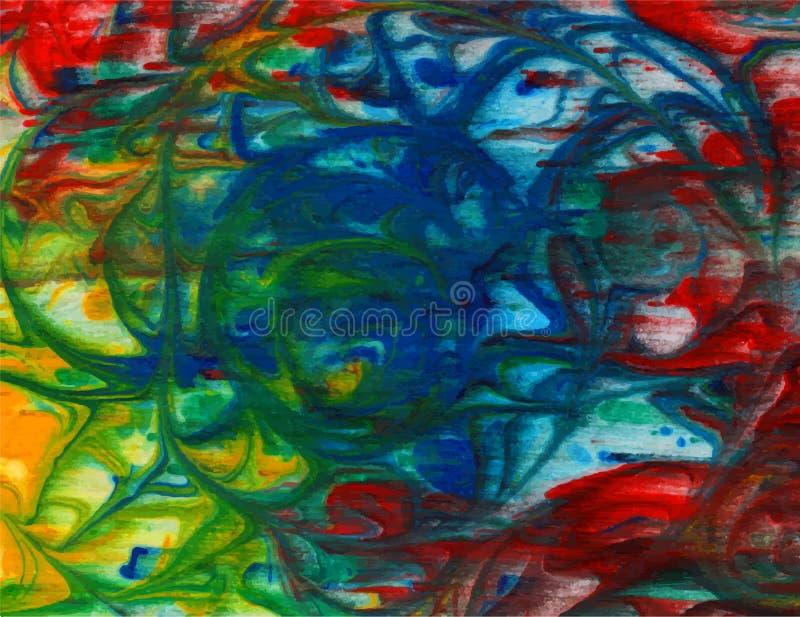 Wektorowy abstrakcjonistyczny jaskrawy - zieleń, błękit, czerwień, żółty akwareli tło dla twój projektów kartka z pozdrowieniami  royalty ilustracja