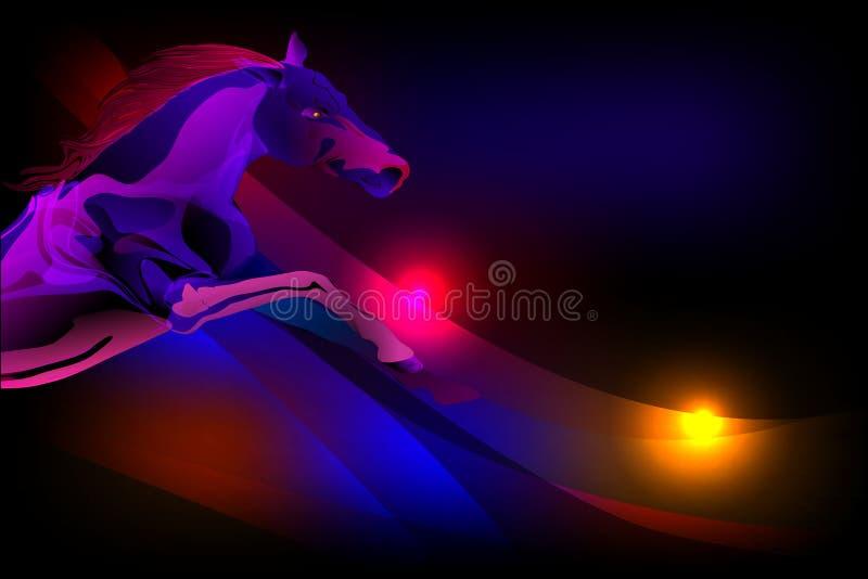 Wektorowy abstrakcjonistyczny koń z oświetleniowym skutkiem i ultrafioletowym ocienionym falistym tłem, wektorowa ilustracja ilustracja wektor