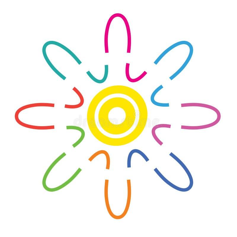 Wektorowy abstrakcjonistyczny kolorowy logo, harmonia symbol, sieci ikona royalty ilustracja