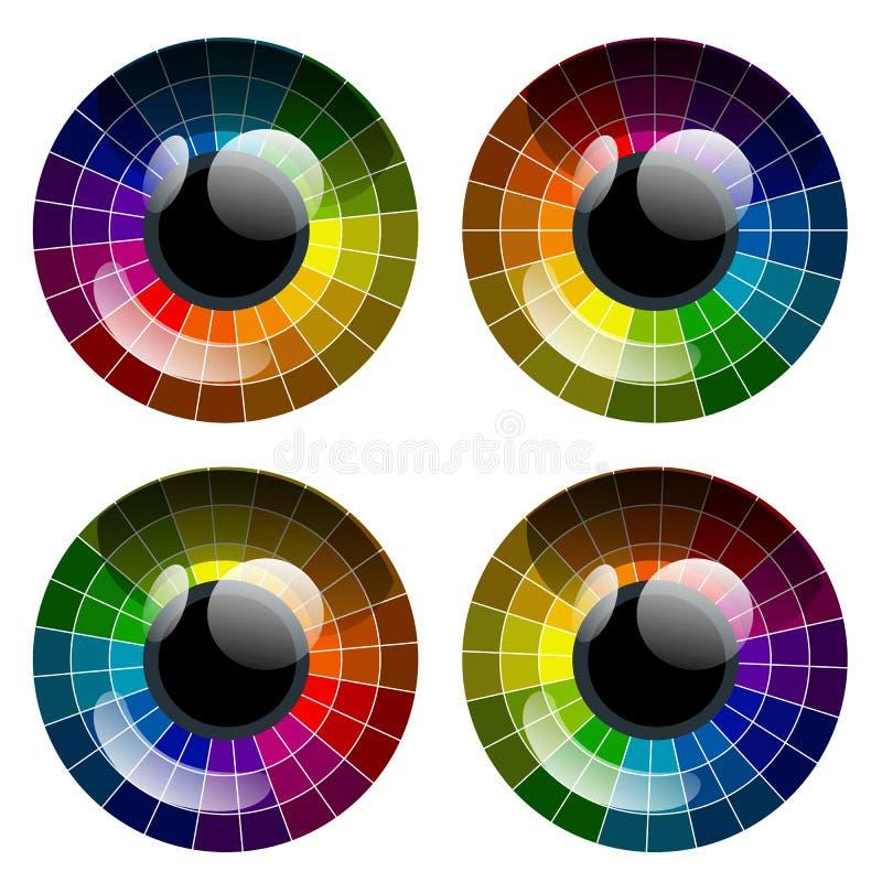 Wektorowy abstrakcjonistyczny kolorowy palety oko ilustracja wektor