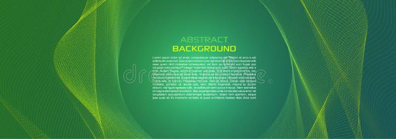 Wektorowy abstrakcjonistyczny kolorowy tło z kropkowaną fala w zielonym kolorze ilustracja wektor