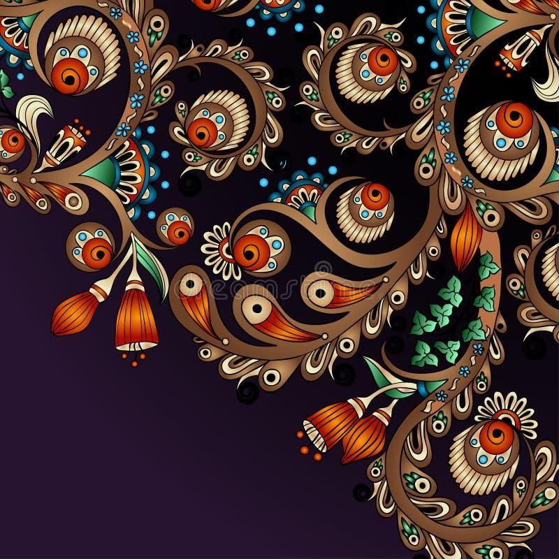 Wektorowy abstrakcjonistyczny kwiecisty dekoracyjny tło. ilustracji