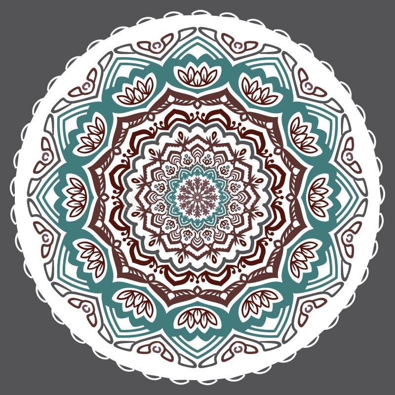 Wektorowy abstrakcjonistyczny kwiecisty wskazujący mandala na popielatym tle royalty ilustracja