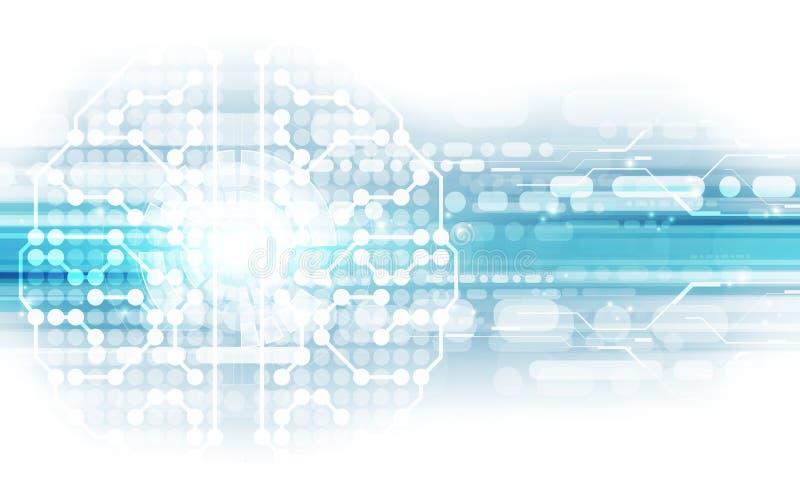 Wektorowy abstrakcjonistyczny ludzki mózg na technologii tle reprezentuje sztucznej inteligenci pojęcie, ilustracja ilustracji