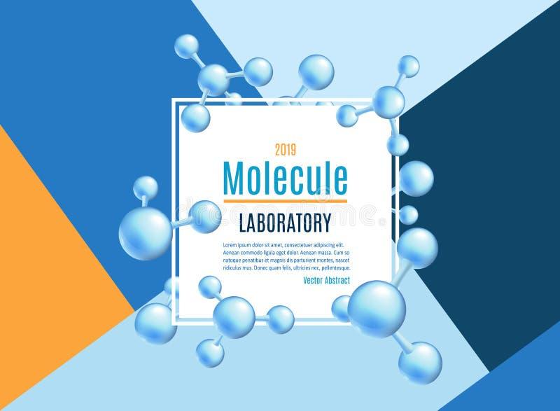 Wektorowy abstrakcjonistyczny molekuła sztandar ustawiający dla labs royalty ilustracja