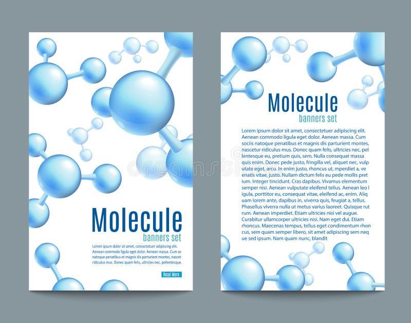 Wektorowy abstrakcjonistyczny molekuła sztandar ustawiający dla labs ilustracja wektor