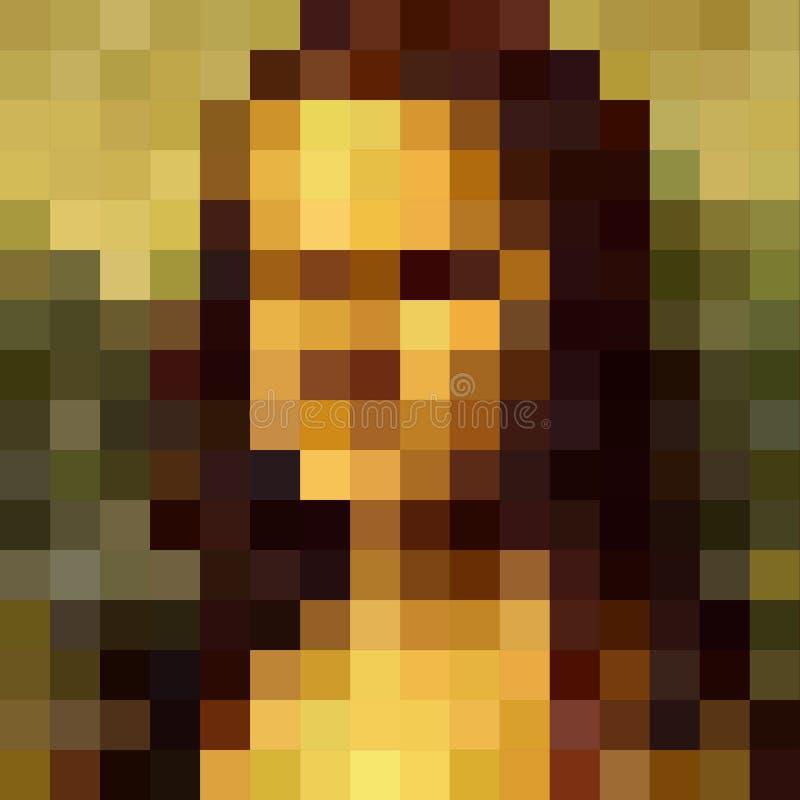 Wektorowy abstrakcjonistyczny mozaika portret kobieta Renesansowego portreta mieszkania stylu Leonardo Da Vinci sławny portret, M royalty ilustracja