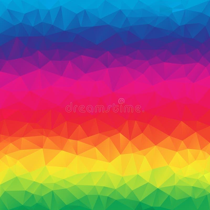 Wektorowy abstrakcjonistyczny nieregularny poligonalny kwadratowy tło pełnego koloru tęczy widma gradient - wibrujący - trójboka  royalty ilustracja