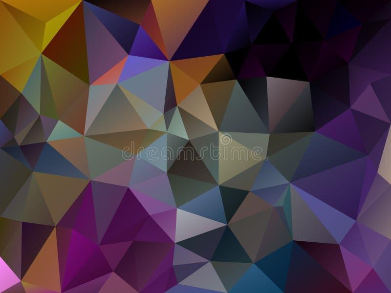 Wektorowy abstrakcjonistyczny nieregularny wieloboka tła trójboka wzór w ciemnym purpurowym wielo- kolorze ilustracja wektor