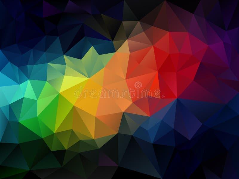 Wektorowy abstrakcjonistyczny nieregularny wieloboka tła trójboka wzór w tęcza pełnego koloru widmie ilustracja wektor