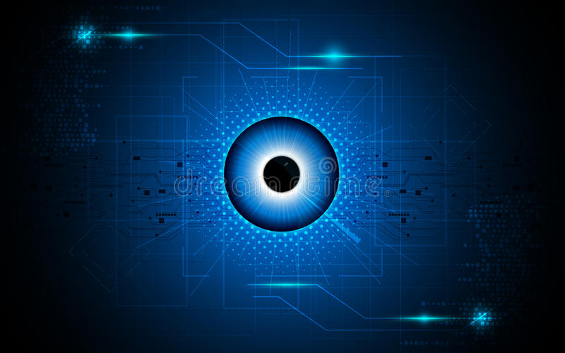 Wektorowy abstrakcjonistyczny oko ostrości wzroku techniki sci fi pojęcia tło ilustracja wektor