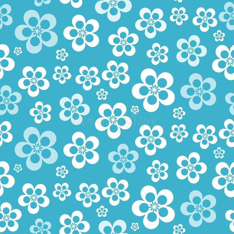 Wektorowy Abstrakcjonistyczny Retro Bezszwowy Błękitny kwiatu wzór ilustracji
