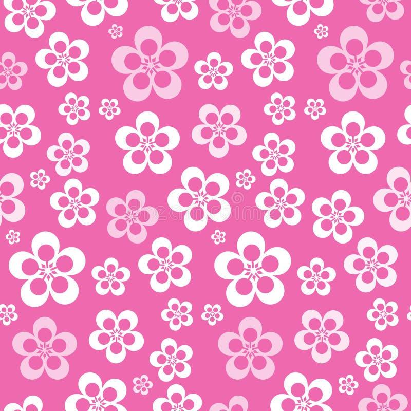 Wektorowy Abstrakcjonistyczny Retro Bezszwowy Różowy kwiatu wzór royalty ilustracja