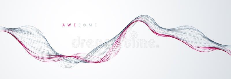 Wektorowy abstrakcjonistyczny tło z falą bieżące cząsteczki, gładki koszowy kształt wykłada, cząsteczka szyka przepływ 3d kształt royalty ilustracja